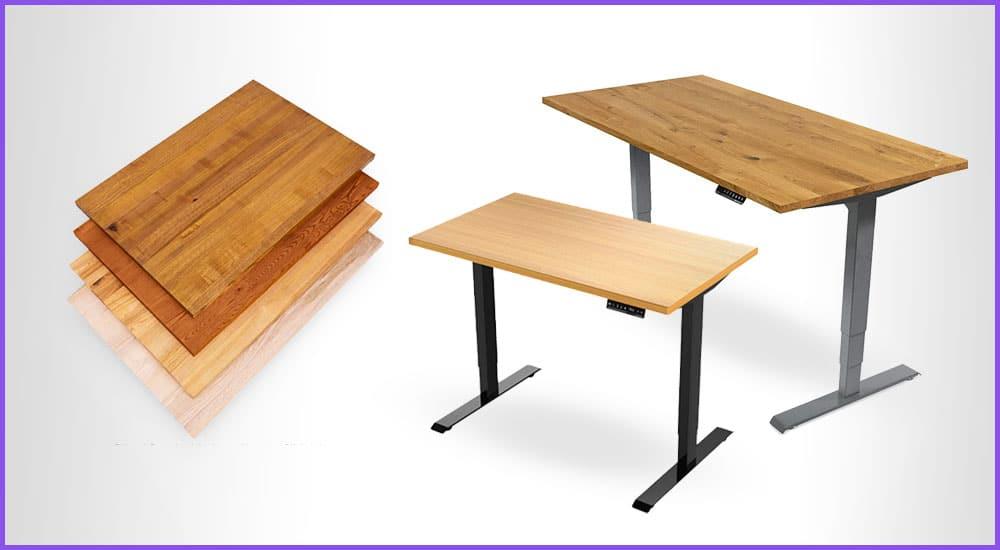 Elektrische Tische mit Holzplatte