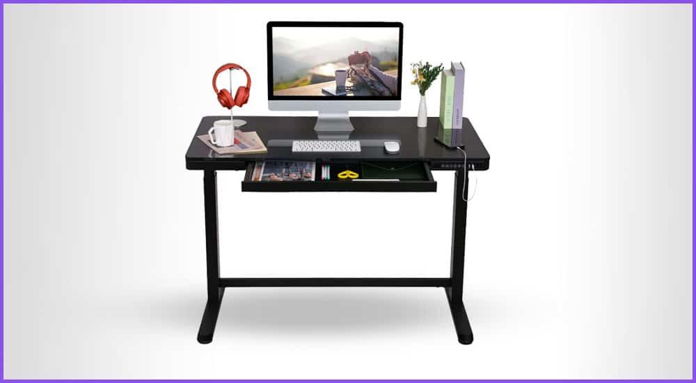 Elektrisch höhenverstellbarer Tisch mit Schubladen