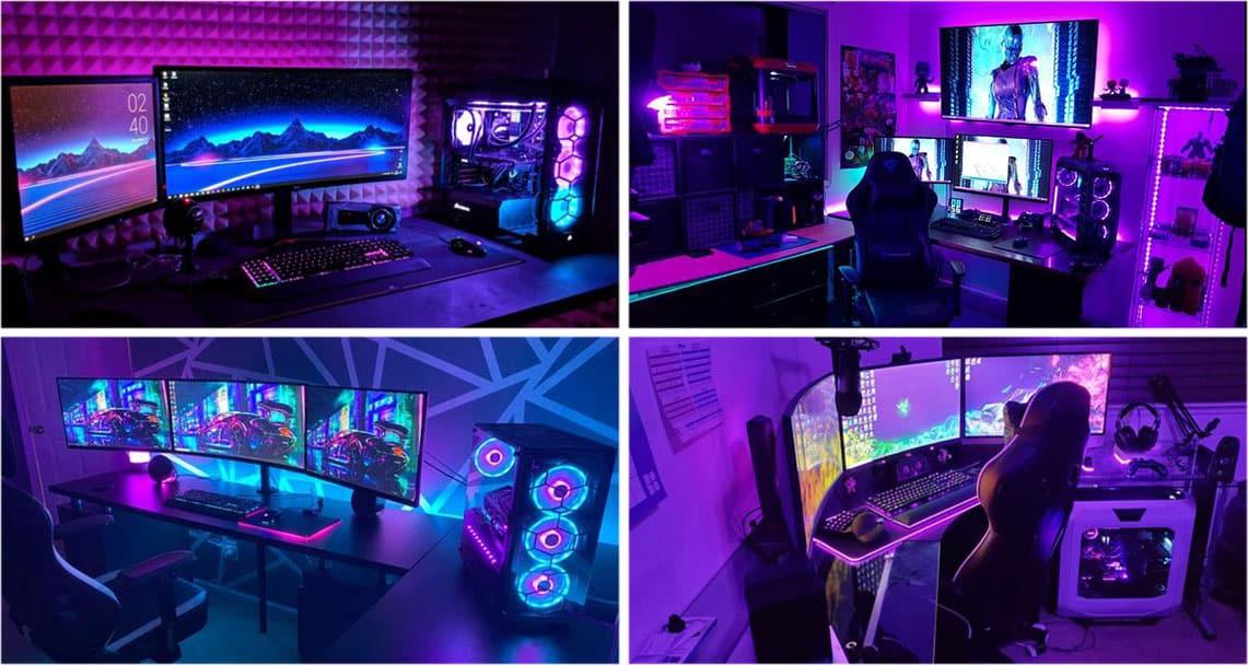 Gaming Zimmer Lila einrichten