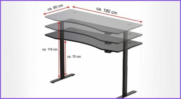 Große höhenverstellbaren Schreibtische ab 180 cm Breite