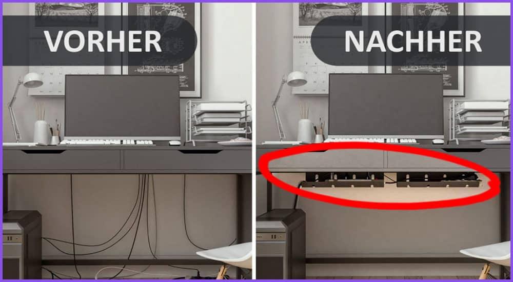 Kabelmanagement am Schreibtisch