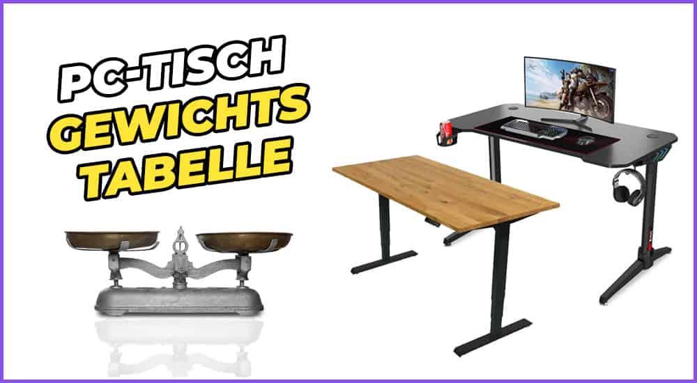 PC-Tisch Gewichtstabelle