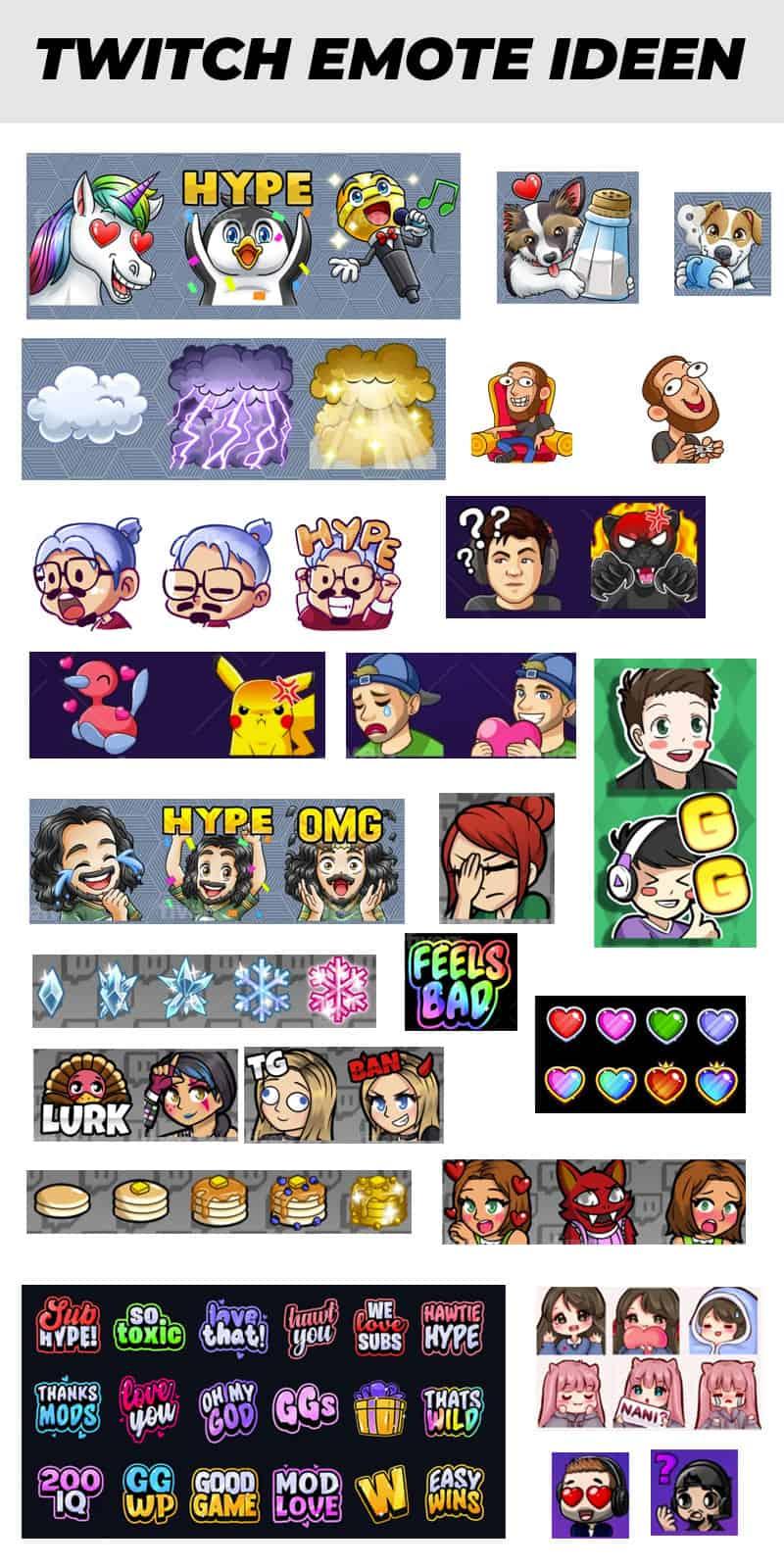 Ideen Sammlung Twitch Emotes
